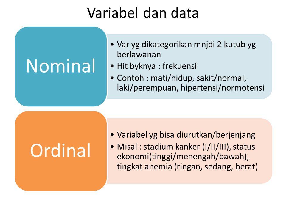 Variabel dan data Var yg dikategorikan mnjdi 2 kutub yg berlawanan Hit byknya : frekuensi Contoh : mati/hidup, sakit/normal, laki/perempuan, hipertens