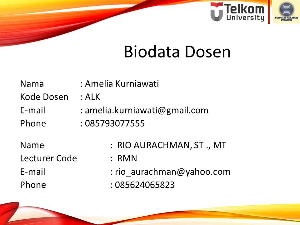 Biodata Dosen Nama : Amelia Kurniawati Kode Dosen : ALK E-mail : amelia.kurniawati@gmail.com Phone : 085793077555 Name: RIO AURACHMAN, ST., MT Lecture