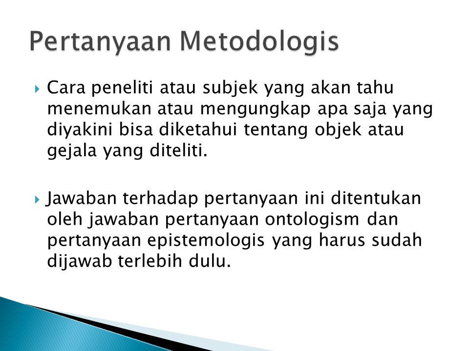  Cara peneliti atau subjek yang akan tahu menemukan atau mengungkap apa saja yang diyakini bisa diketahui tentang objek atau gejala yang diteliti.