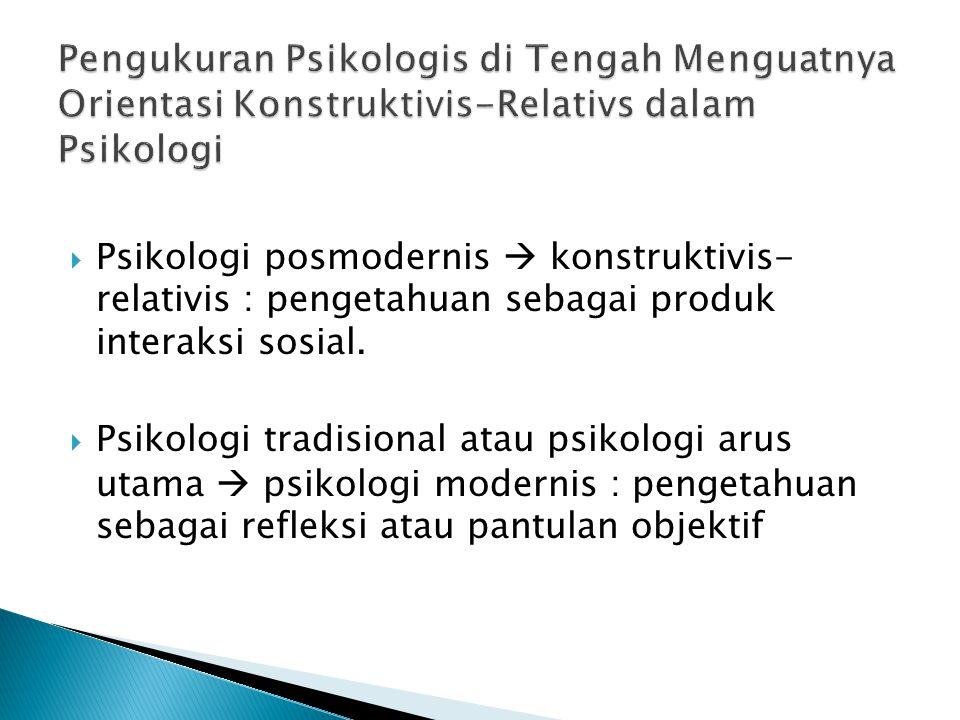  Psikologi posmodernis  konstruktivis- relativis : pengetahuan sebagai produk interaksi sosial.