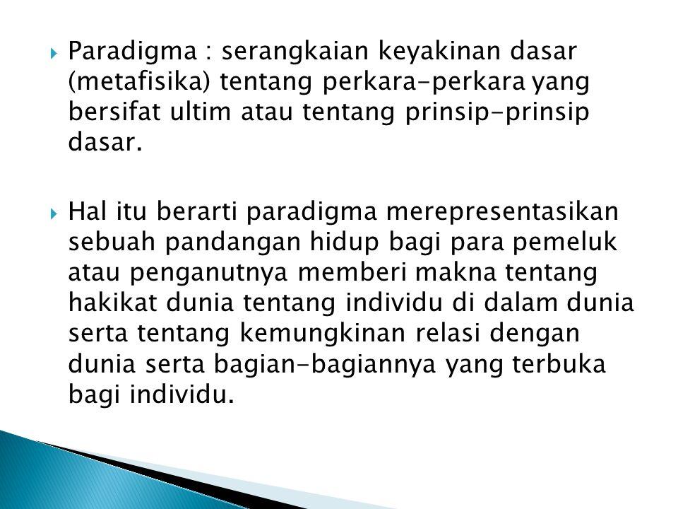  Paradigma : serangkaian keyakinan dasar (metafisika) tentang perkara-perkara yang bersifat ultim atau tentang prinsip-prinsip dasar.