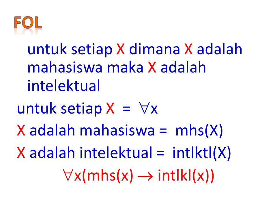untuk setiap X =  x X adalah mahasiswa = mhs(X) X adalah intelektual = intlktl(X)  x(mhs(x)  intlkl(x))