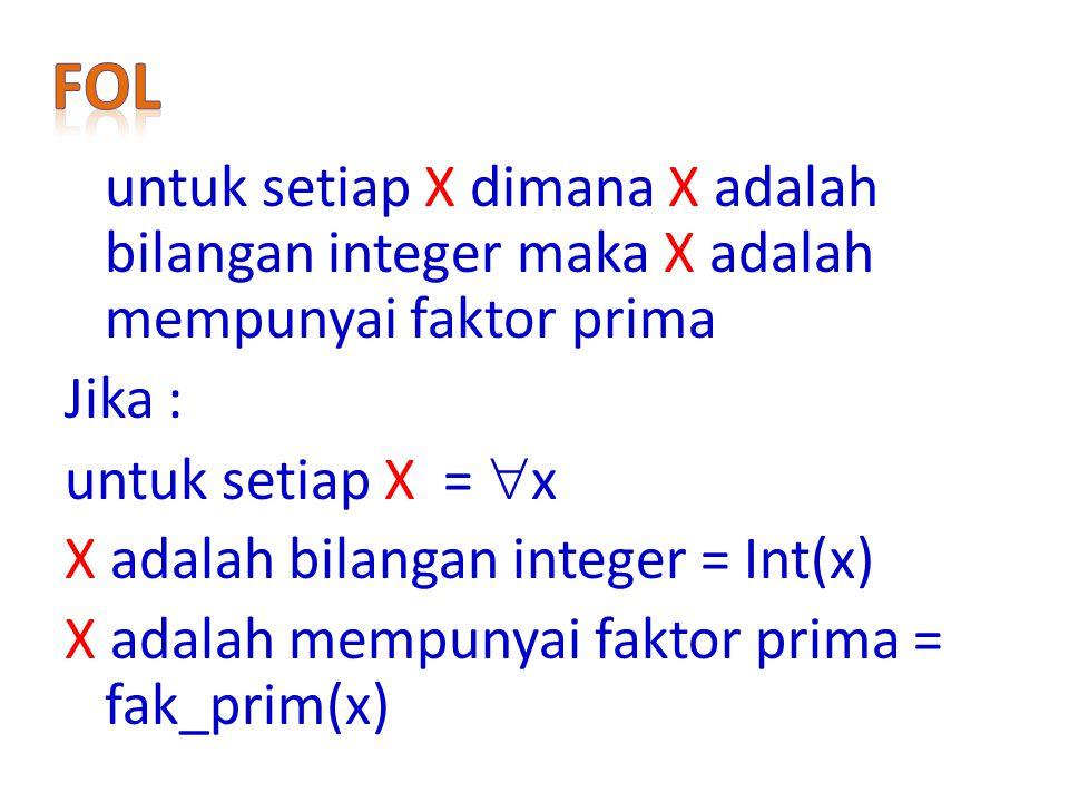 Jika : untuk setiap X =  x X adalah bilangan integer = Int(x) X adalah mempunyai faktor prima = fak_prim(x)