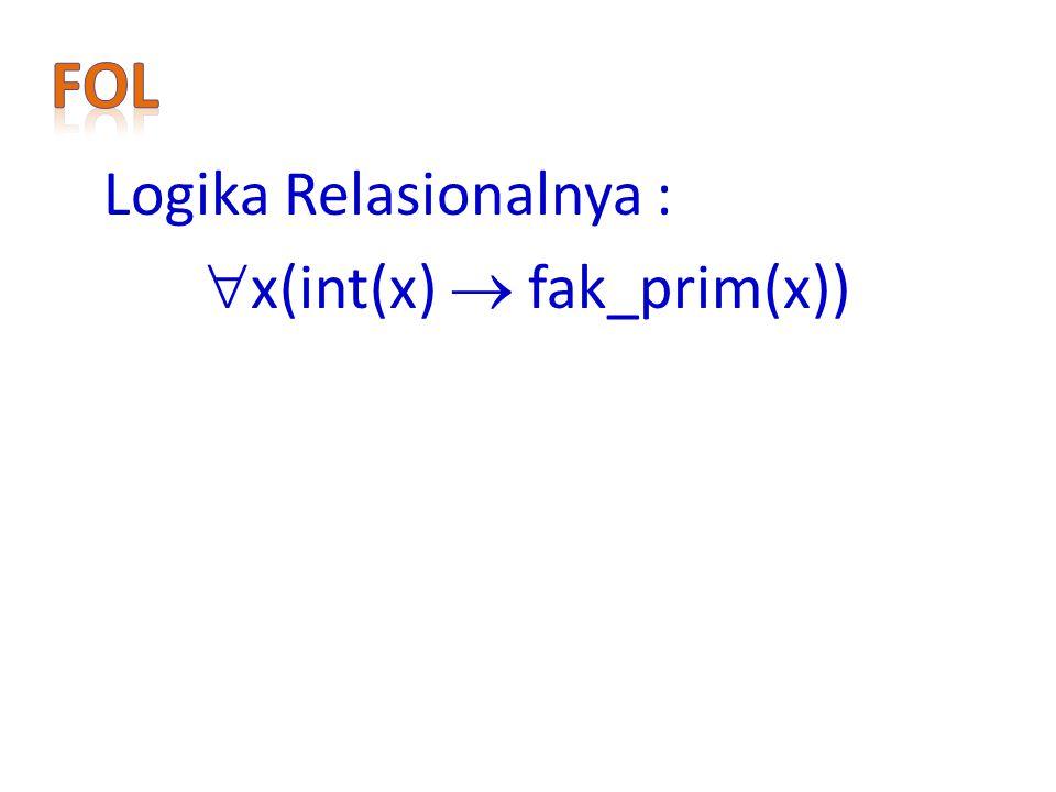 Logika Relasionalnya :  x(int(x)  fak_prim(x))