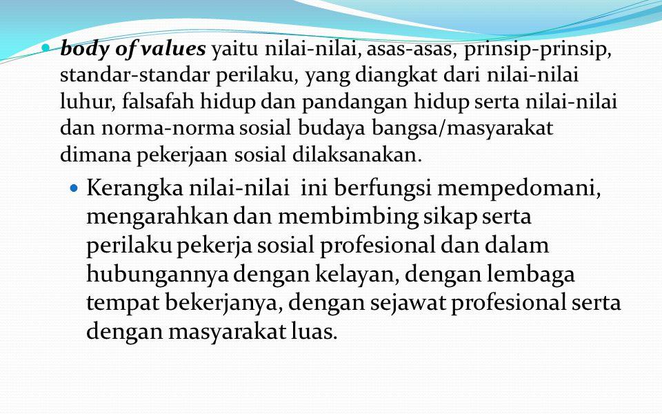 body of skills yaitu serangkaian keterampilan teknis yang berdasarkan kerangka pengetahuan, yang dikuasai oleh seorang pekerja sosial yang diperolehny