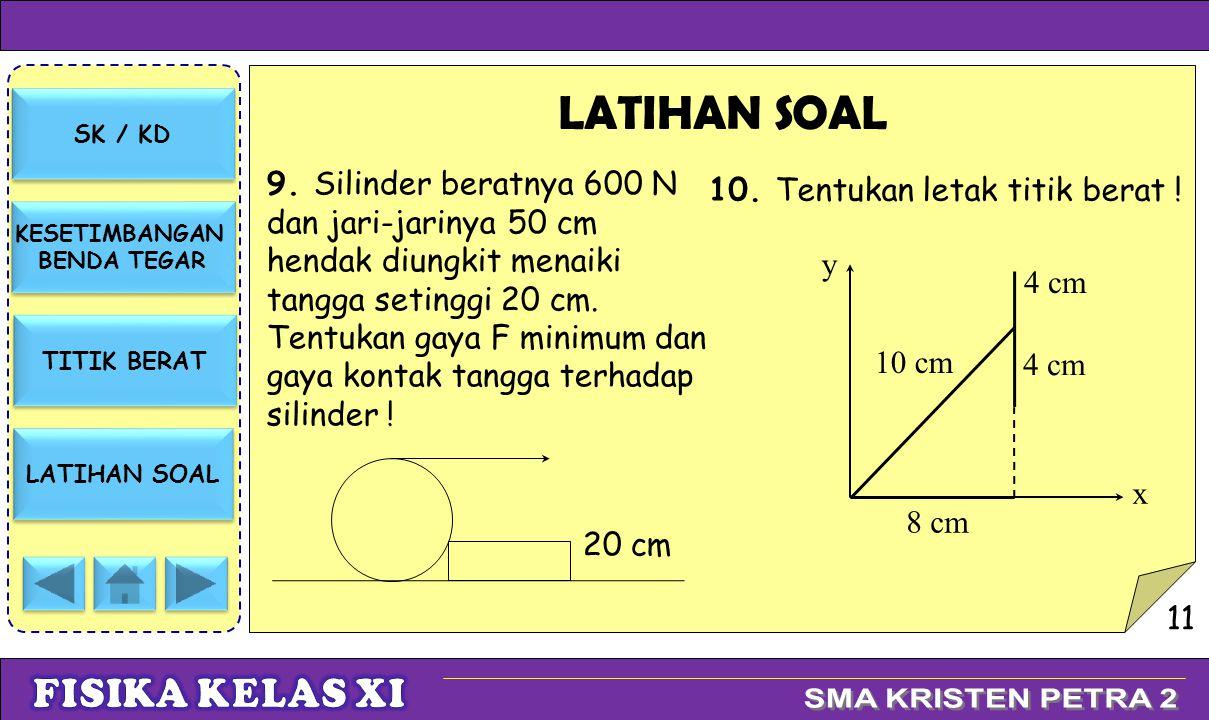 SK / KD KESETIMBANGAN BENDA TEGAR KESETIMBANGAN BENDA TEGAR TITIK BERAT LATIHAN SOAL 9. Silinder beratnya 600 N dan jari-jarinya 50 cm hendak diungkit