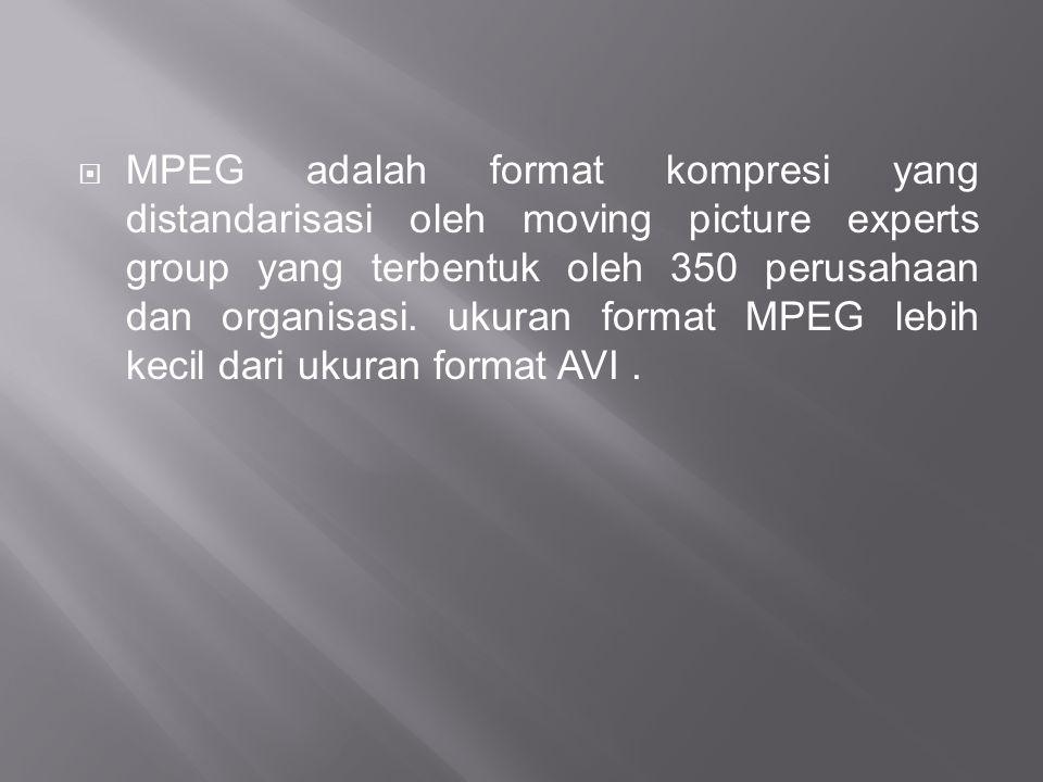  MPEG adalah format kompresi yang distandarisasi oleh moving picture experts group yang terbentuk oleh 350 perusahaan dan organisasi. ukuran format M