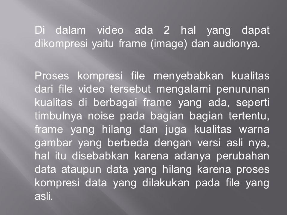 Di dalam video ada 2 hal yang dapat dikompresi yaitu frame (image) dan audionya. Proses kompresi file menyebabkan kualitas dari file video tersebut me