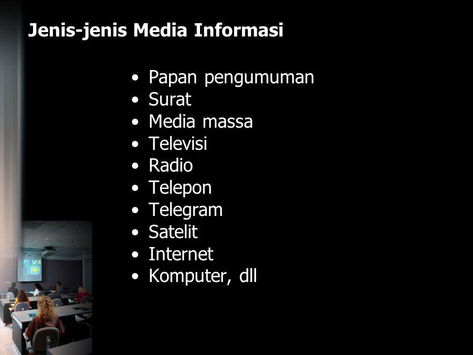 Jenis-jenis Media Informasi Papan pengumuman Surat Media massa Televisi Radio Telepon Telegram Satelit Internet Komputer, dll