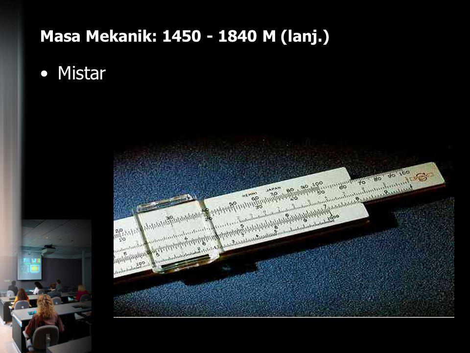 Masa Mekanik: 1450 - 1840 M (lanj.) Mistar