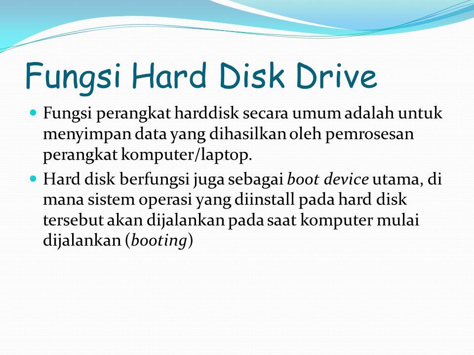Fungsi Hard Disk Drive Fungsi perangkat harddisk secara umum adalah untuk menyimpan data yang dihasilkan oleh pemrosesan perangkat komputer/laptop.