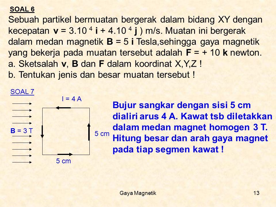 Gaya Magnetik13 SOAL 6 Sebuah partikel bermuatan bergerak dalam bidang XY dengan kecepatan v = 3.10 4 i + 4.10 4 j ) m/s. Muatan ini bergerak dalam me