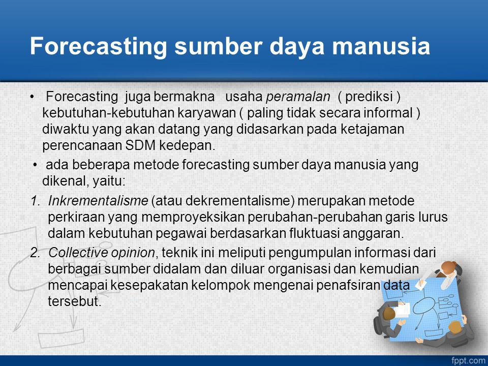 Forecasting sumber daya manusia Forecasting juga bermakna usaha peramalan ( prediksi ) kebutuhan-kebutuhan karyawan ( paling tidak secara informal ) d