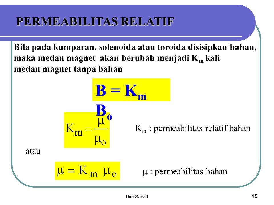 Biot Savart15 PERMEABILITAS RELATIF Bila pada kumparan, solenoida atau toroida disisipkan bahan, maka medan magnet akan berubah menjadi K m kali medan