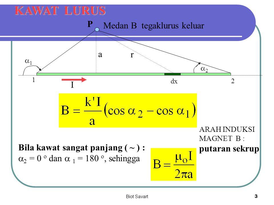 Biot Savart4 SOAL 1 SOAL 2 BUKU DIKTAT 4 cm I = 3 A Sebuah kawat bujur sangkar dengan sisi 4 cm dialiri arus 3 A seperti gambar.