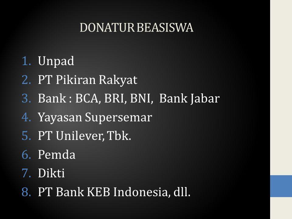 DONATUR BEASISWA 1.Unpad 2.PT Pikiran Rakyat 3.Bank : BCA, BRI, BNI, Bank Jabar 4.Yayasan Supersemar 5.PT Unilever, Tbk.