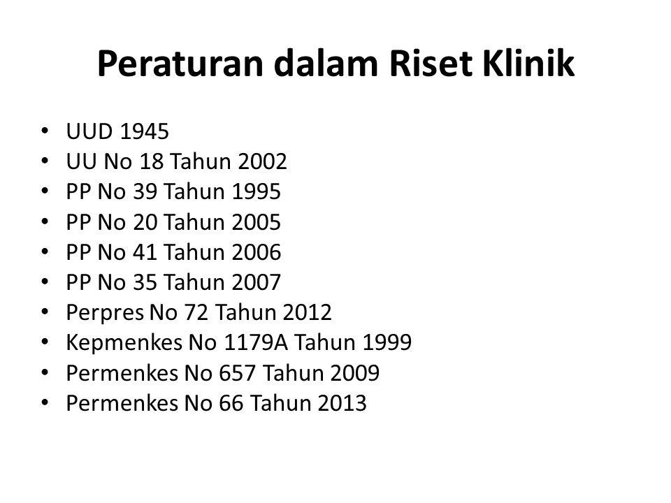 Peraturan dalam Riset Klinik UUD 1945 UUD 1945 UU No 18 Tahun 2002 PP No 39 Tahun 1995 PP No 20 Tahun 2005 PP No 41 Tahun 2006 PP No 35 Tahun 2007 Per