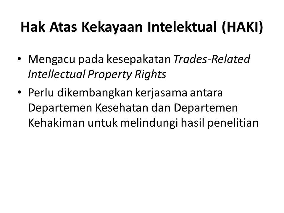 Hak Atas Kekayaan Intelektual (HAKI) Mengacu pada kesepakatan Trades-Related Intellectual Property Rights Perlu dikembangkan kerjasama antara Departemen Kesehatan dan Departemen Kehakiman untuk melindungi hasil penelitian