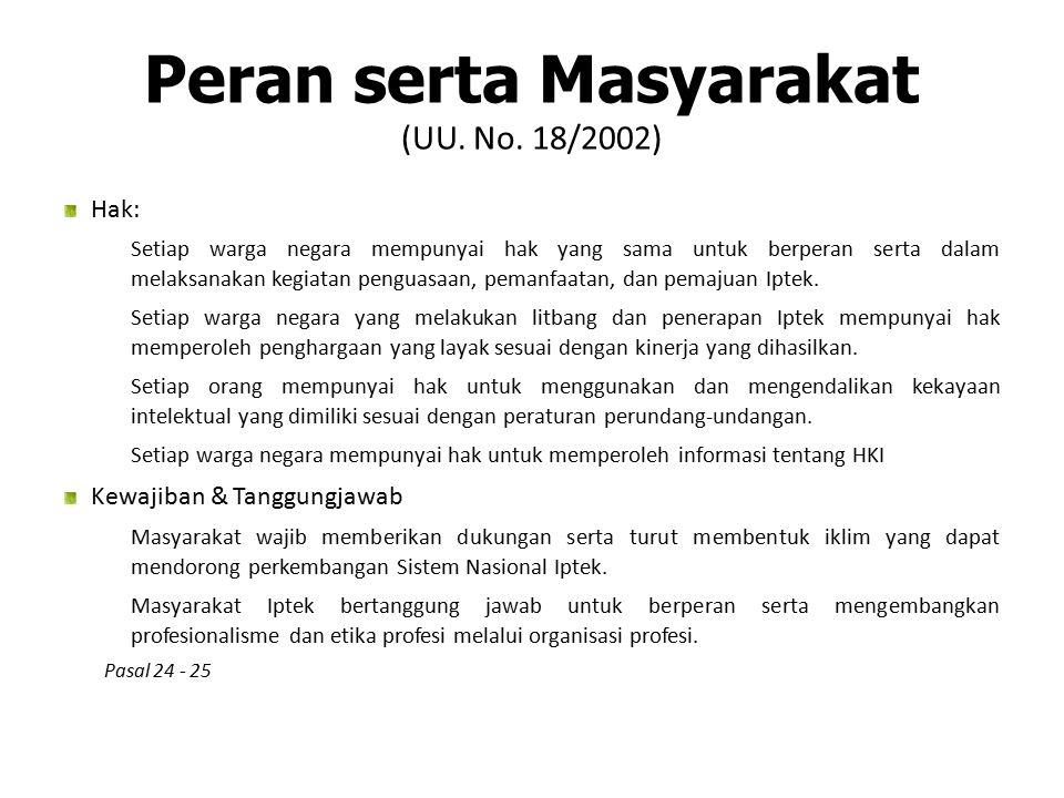 Peran serta Masyarakat (UU. No. 18/2002) Hak: 1) Setiap warga negara mempunyai hak yang sama untuk berperan serta dalam melaksanakan kegiatan penguasa