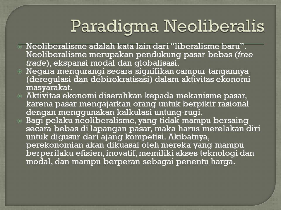 """ Neoliberalisme adalah kata lain dari """"liberalisme baru"""". Neoliberalisme merupakan pendukung pasar bebas (free trade), ekspansi modal dan globalisasi"""