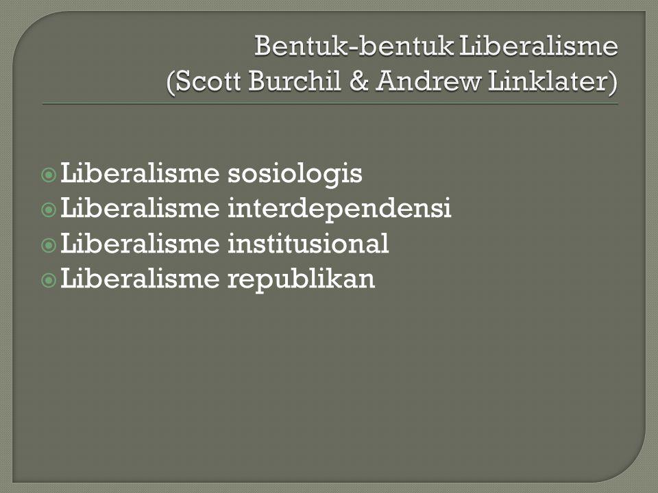  Liberalisme sosiologis  Liberalisme interdependensi  Liberalisme institusional  Liberalisme republikan