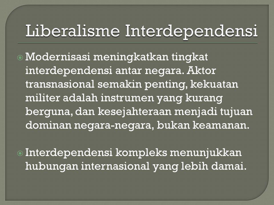  Modernisasi meningkatkan tingkat interdependensi antar negara. Aktor transnasional semakin penting, kekuatan militer adalah instrumen yang kurang be