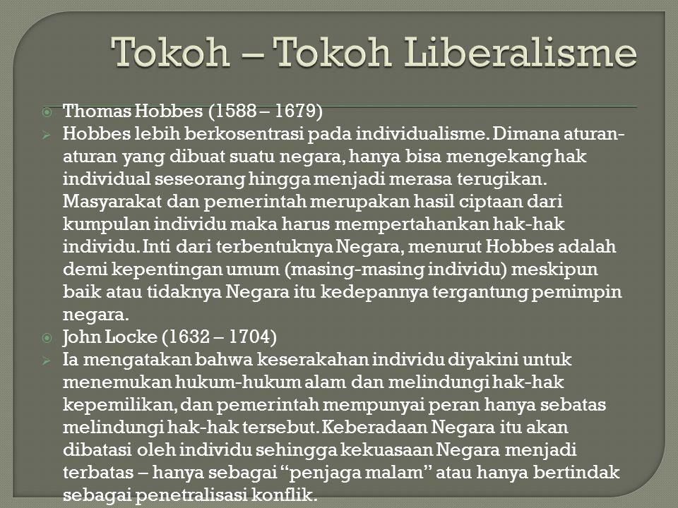  Thomas Hobbes (1588 – 1679)  Hobbes lebih berkosentrasi pada individualisme. Dimana aturan- aturan yang dibuat suatu negara, hanya bisa mengekang h
