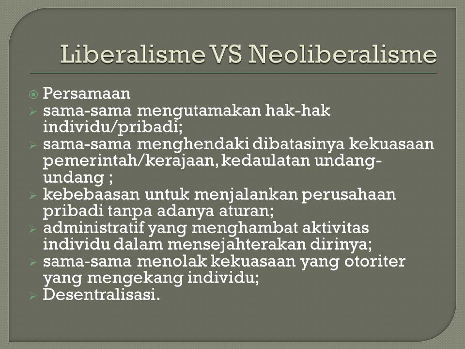  Persamaan  sama-sama mengutamakan hak-hak individu/pribadi;  sama-sama menghendaki dibatasinya kekuasaan pemerintah/kerajaan, kedaulatan undang- u