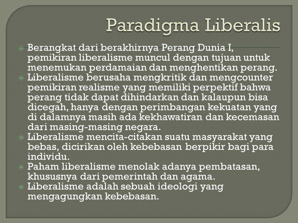  Berangkat dari berakhirnya Perang Dunia I, pemikiran liberalisme muncul dengan tujuan untuk menemukan perdamaian dan menghentikan perang.  Liberali