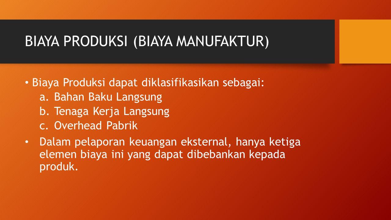 BIAYA PRODUKSI (BIAYA MANUFAKTUR) Biaya Produksi dapat diklasifikasikan sebagai: a.Bahan Baku Langsung b.Tenaga Kerja Langsung c.Overhead Pabrik Dalam