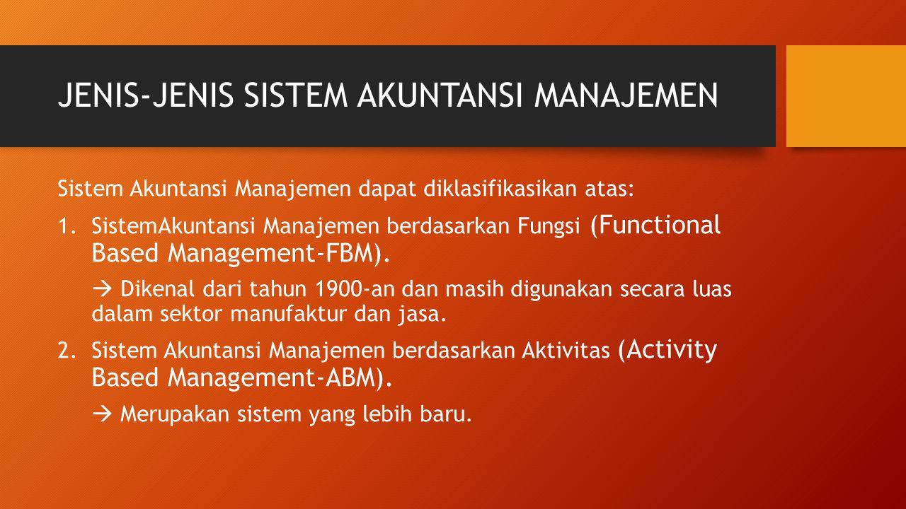 JENIS-JENIS SISTEM AKUNTANSI MANAJEMEN Sistem Akuntansi Manajemen dapat diklasifikasikan atas: 1.SistemAkuntansi Manajemen berdasarkan Fungsi (Functio