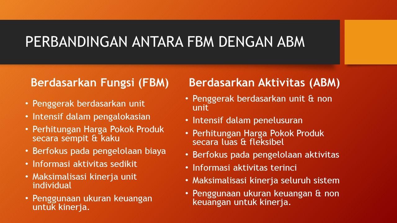 PERBANDINGAN ANTARA FBM DENGAN ABM Berdasarkan Fungsi (FBM) Penggerak berdasarkan unit Intensif dalam pengalokasian Perhitungan Harga Pokok Produk sec