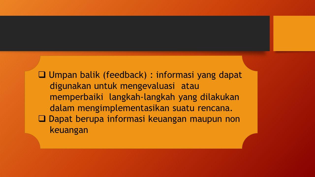  Umpan balik (feedback) : informasi yang dapat digunakan untuk mengevaluasi atau memperbaiki langkah-langkah yang dilakukan dalam mengimplementasikan