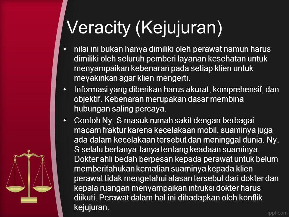 Veracity (Kejujuran) nilai ini bukan hanya dimiliki oleh perawat namun harus dimiliki oleh seluruh pemberi layanan kesehatan untuk menyampaikan kebena