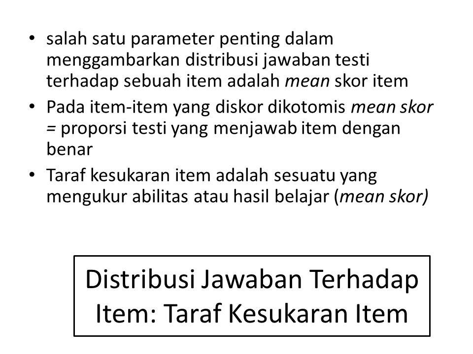 Distribusi Jawaban Terhadap Item: Taraf Kesukaran Item salah satu parameter penting dalam menggambarkan distribusi jawaban testi terhadap sebuah item