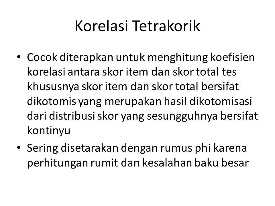 Korelasi Tetrakorik Cocok diterapkan untuk menghitung koefisien korelasi antara skor item dan skor total tes khususnya skor item dan skor total bersif