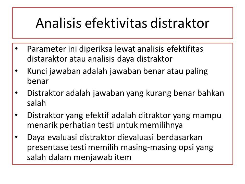 Analisis efektivitas distraktor Parameter ini diperiksa lewat analisis efektifitas distaraktor atau analisis daya distraktor Kunci jawaban adalah jawa