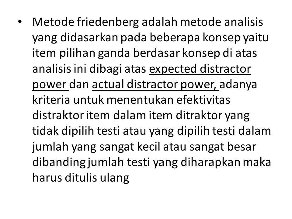 Metode friedenberg adalah metode analisis yang didasarkan pada beberapa konsep yaitu item pilihan ganda berdasar konsep di atas analisis ini dibagi at