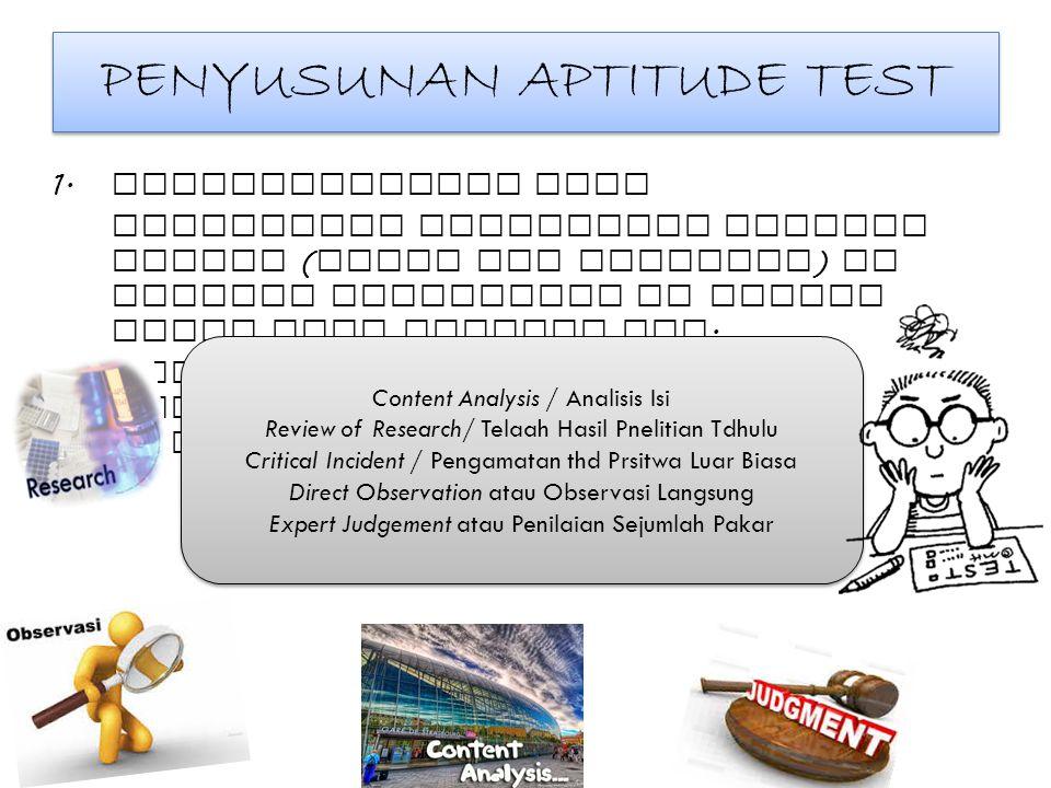 PENYUSUNAN APTITUDE TEST 1. Mendefinisikan Test Menetapkan behavioral Content Domain ( Ranah Isi Perilaku ) dr atribut psikologis yg mnjadi objek atau