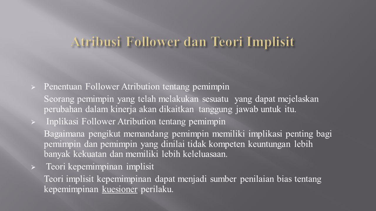  Penentuan Follower Atribution tentang pemimpin Seorang pemimpin yang telah melakukan sesuatu yang dapat mejelaskan perubahan dalam kinerja akan dikaitkan tanggung jawab untuk itu.