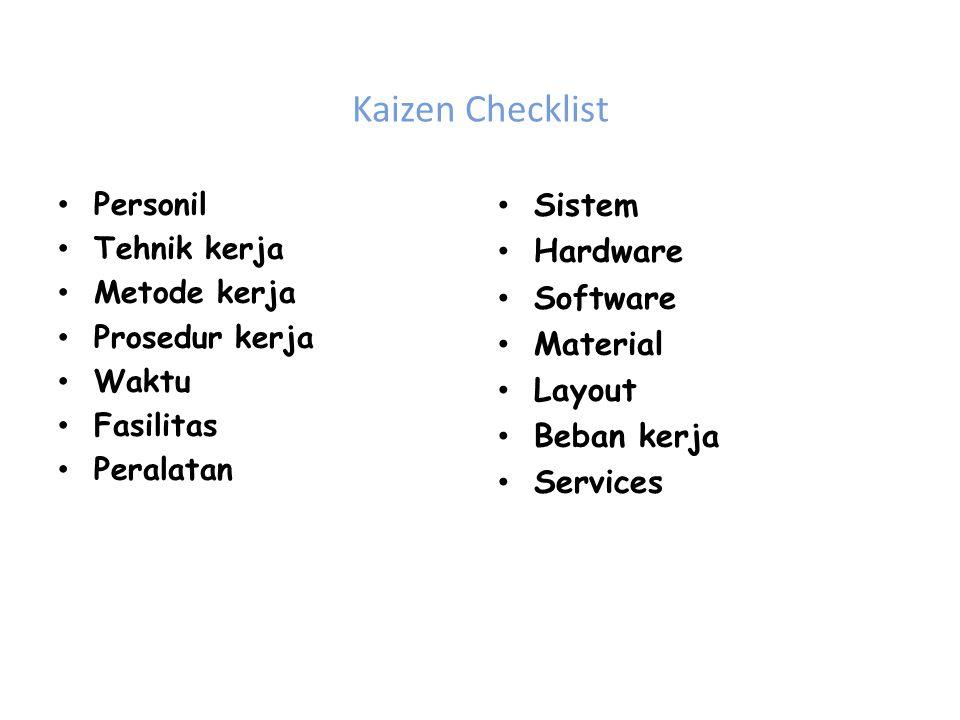 Kaizen Checklist Personil Tehnik kerja Metode kerja Prosedur kerja Waktu Fasilitas Peralatan Sistem Hardware Software Material Layout Beban kerja Services