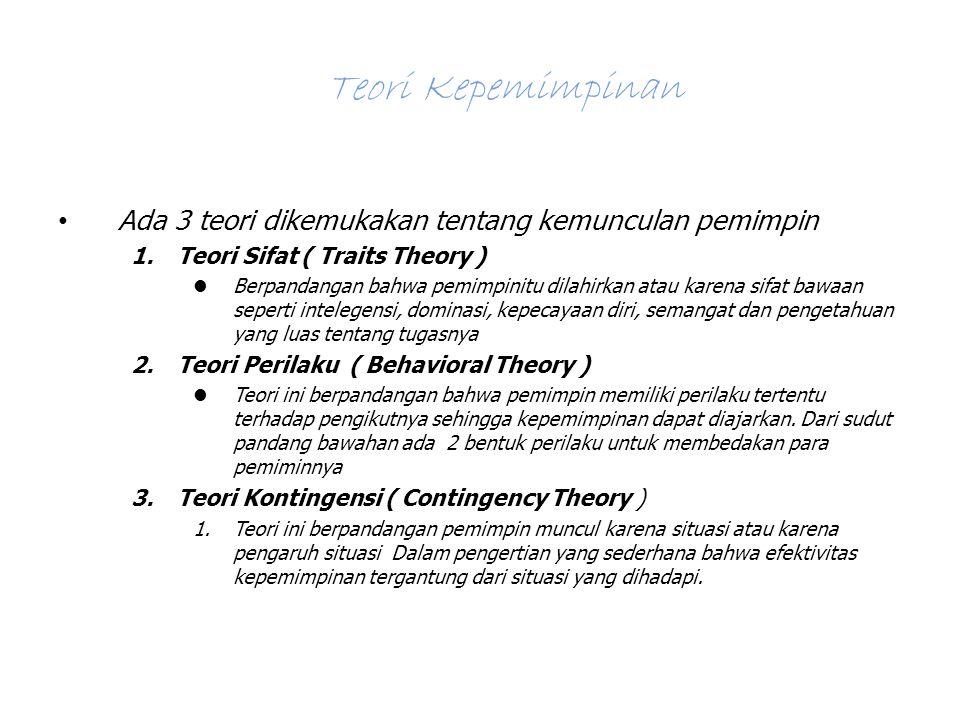 Teori Kepemimpinan Ada 3 teori dikemukakan tentang kemunculan pemimpin 1.Teori Sifat ( Traits Theory ) Berpandangan bahwa pemimpinitu dilahirkan atau karena sifat bawaan seperti intelegensi, dominasi, kepecayaan diri, semangat dan pengetahuan yang luas tentang tugasnya 2.Teori Perilaku ( Behavioral Theory ) Teori ini berpandangan bahwa pemimpin memiliki perilaku tertentu terhadap pengikutnya sehingga kepemimpinan dapat diajarkan.