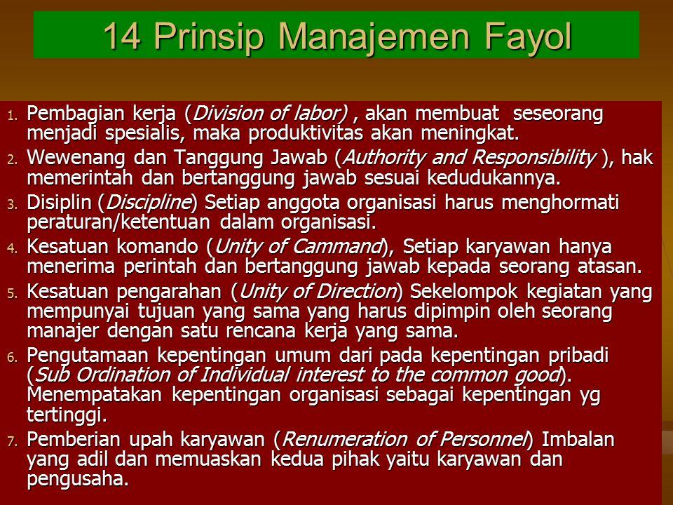 14 Prinsip Manajemen Fayol 1. Pembagian kerja (Division of labor), akan membuat seseorang menjadi spesialis, maka produktivitas akan meningkat. 2. Wew