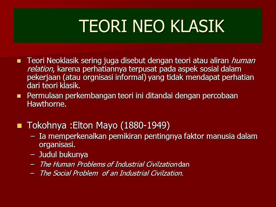 TEORI NEO KLASIK Teori Neoklasik sering juga disebut dengan teori atau aliran human relation, karena perhatiannya terpusat pada aspek sosial dalam pek