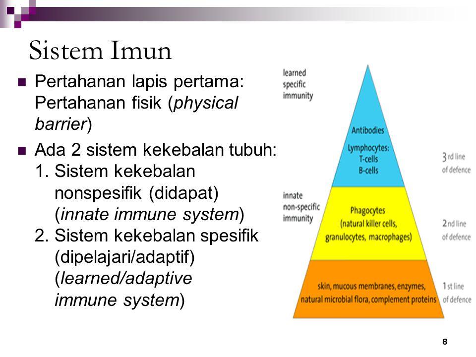 9 Respons Imun Tahap: Deteksi & mengenali benda asing Komunikasi dg sel lain untuk berespons Rekruitmen bantuan & koordinasi respons Destruksi atau supresi penginvasi  antibodi & sitokin