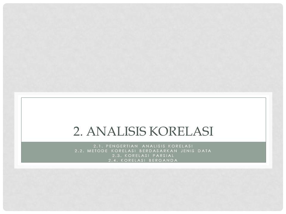 2.ANALISIS KORELASI 2.1. PENGERTIAN ANALISIS KORELASI 2.2.