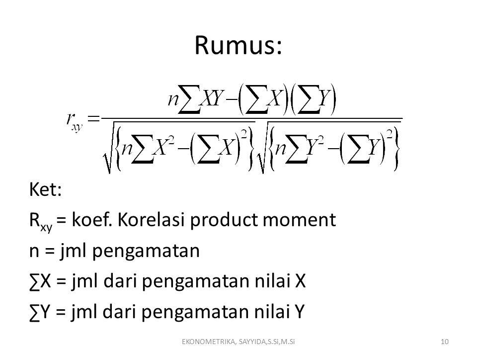 Rumus: Ket: R xy = koef.