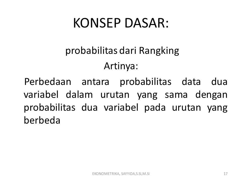 KONSEP DASAR: probabilitas dari Rangking Artinya: Perbedaan antara probabilitas data dua variabel dalam urutan yang sama dengan probabilitas dua variabel pada urutan yang berbeda EKONOMETRIKA, SAYYIDA,S.Si,M.Si17