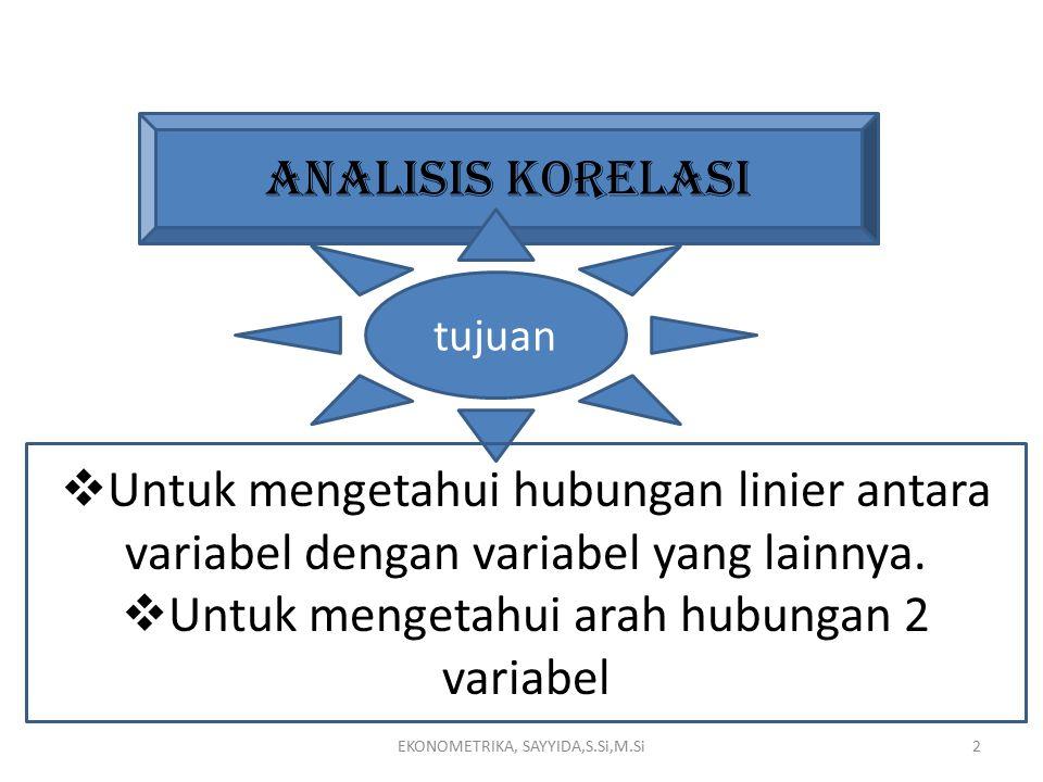 2 ANALISIS KORELASI tujuan  Untuk mengetahui hubungan linier antara variabel dengan variabel yang lainnya.