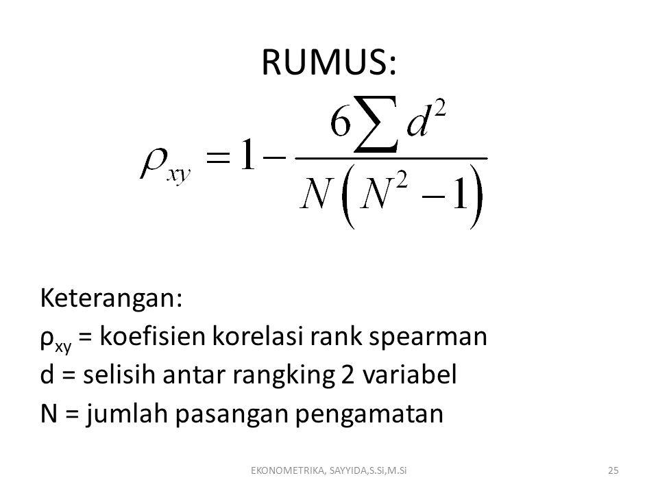 RUMUS: Keterangan: ρ xy = koefisien korelasi rank spearman d = selisih antar rangking 2 variabel N = jumlah pasangan pengamatan EKONOMETRIKA, SAYYIDA,S.Si,M.Si25